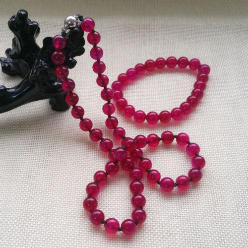Fashion Beautiful 10MM Lavender Dark rose red Necklace & Bracelet Jewelry Set 18<<<free shipping