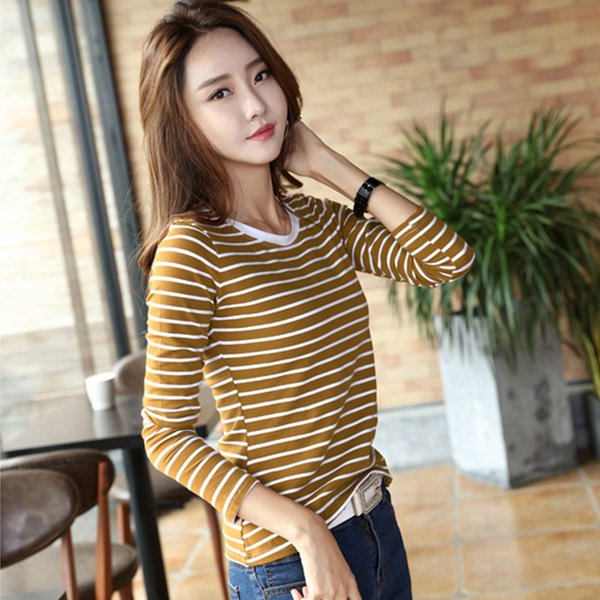 Autumn Winter Striped T-shirt Women Casual Plus Size Tops Tees Femme Long Sleeve Women Cotton Tshirt Camisetas Mujer 2019
