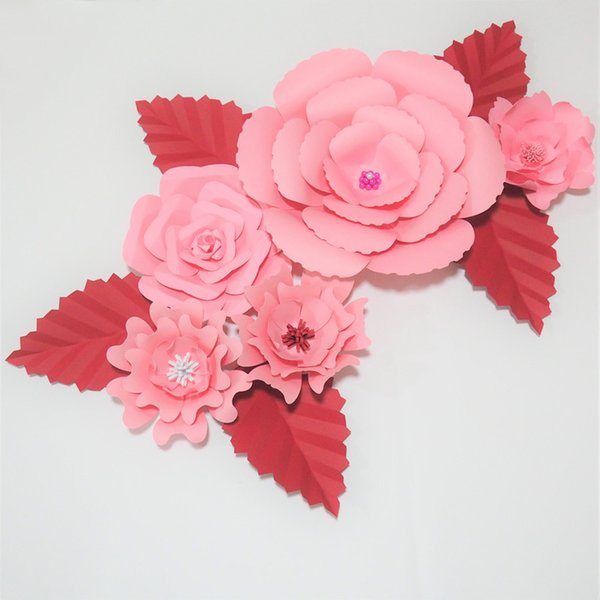 FAI DA TE 5 PZ Giant Paper Flowers Red Rose 5 Foglie Flores Artificiales Fleur Artificielle Evento di Nozze Sfondo Festa Nursery