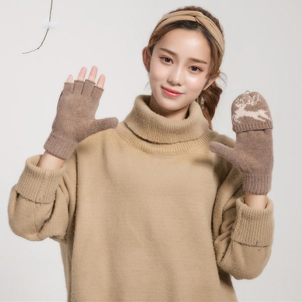 Мода Раскладушка Зимние Перчатки Женщины Мужчины Теплая Шерсть Акриловые Перчатки Без Пальцев Жаккардовый Лось Шаблон Варежки Для Женщин Пара