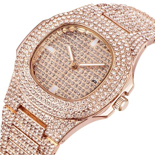 Relojes al por mayor para hombre Marca de lujo Diamante Calendario Relojes de pulsera de cuarzo Hombres Oro Relojes de diseño vintage Montre Homme Oro Nuevo