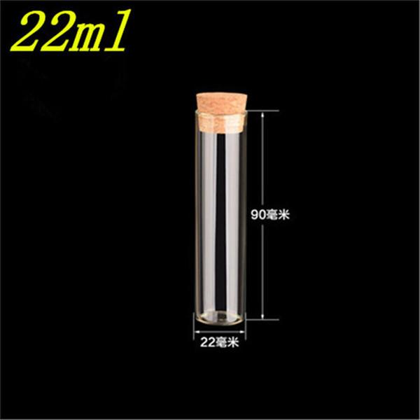 22 * 90 mm 22 ml botellas vacías transparentes de vidrio con tapón de corcho Frascos de vidrio frascos de botellas de envasado de prueba 100pcs / lot