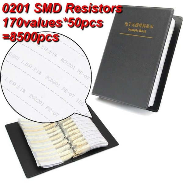 Wholesale- New Arrival 0201 1% 0ohm to 10M SMD SMT Chip Resistors Assortment Kit 170Values x50 Assorted Sample Book