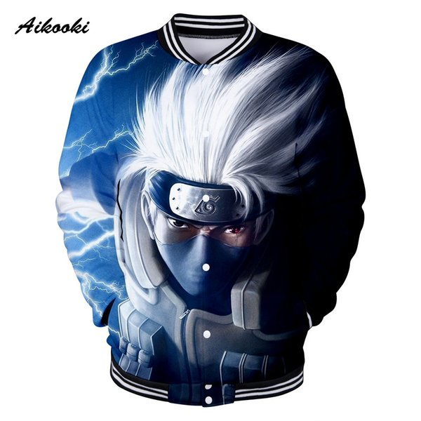 Aikooki 3D Naruto Baseball Jacket Women/Men 3D Design Jackets Casual Cotton Harajuku Blue Design Boys/Girls Sweatshirt Tops
