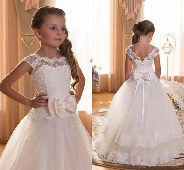 Big Bow Lace Flower Girl Dresses Floor Length Girls Pageant Dresses First Communion Dresses Wedding Party Dress MC1552