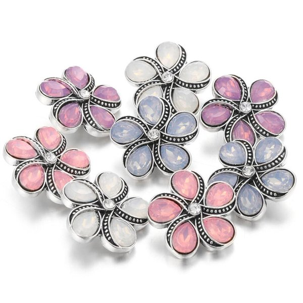 10Pcs 2018 New Snap Jewelry 20MM Metal Flowers Snap Button The Snap Beads Bracelet for Women Buttons Jewelry