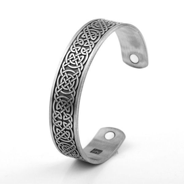 Lemegetom Direct Factory Chinese Lucky Knot Pattern Viking Bangles Health Care Mangetic Stainless Steel Jewelry Wide Open Mens Bracelets