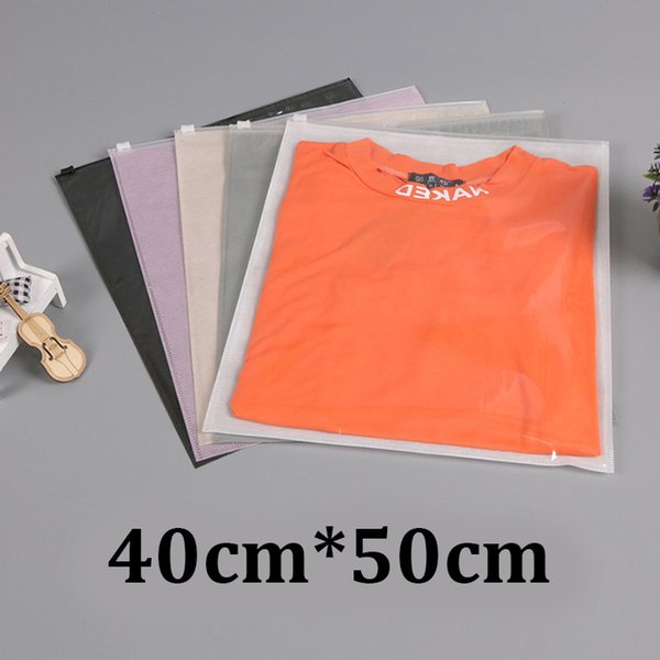 40cm*50cm 40x50 cm one side clear CPP plastic back non woven resealable slider zipper garment clothing bags