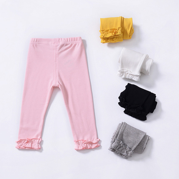 Baby Girls Pants Candy Solid Color Lace Leggings Tights INS Autumn Simple Cotton Trousers Infant Newborn Fashion Elastic Pants T168
