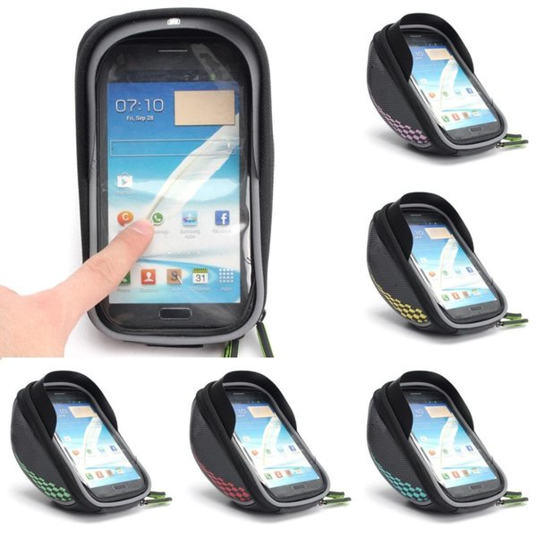 Bike Bicycle Frame Front Tube Bag Cycling Riding Bag Pannier Smartphone GPS Touch Screen Case Handlebar Bags Pannier Holder