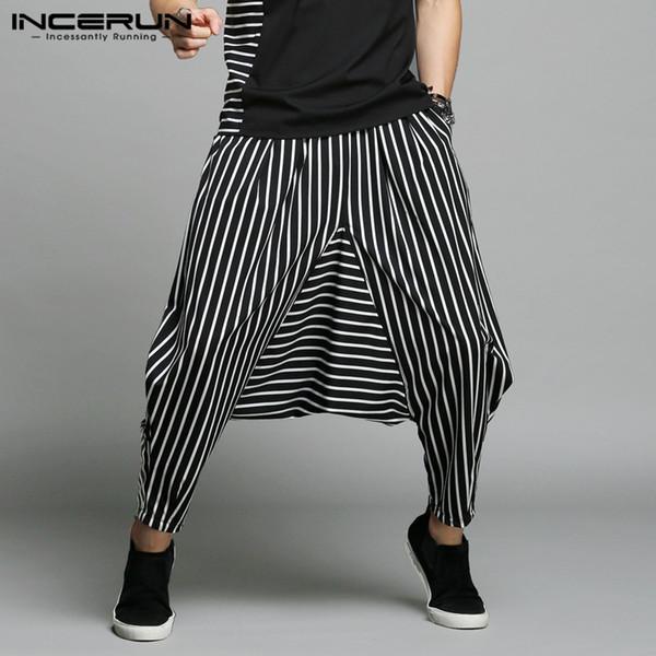 INCERUN Japan Style S-5XL Cross-pants Men Irregular Striped Patchwork Harem Pants Men's Trousers Big Male Drop Crotch Plus Dance