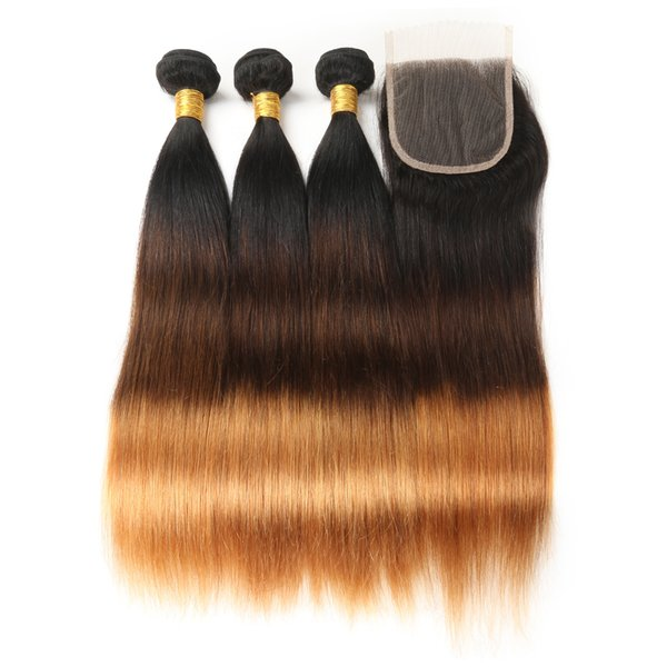 Ombre Straight Human Hair Bundles with Closure T1B/4/30 Peruvian Hair Weave 3 Bundles with Lace Closure Non-Remy Hair Extension