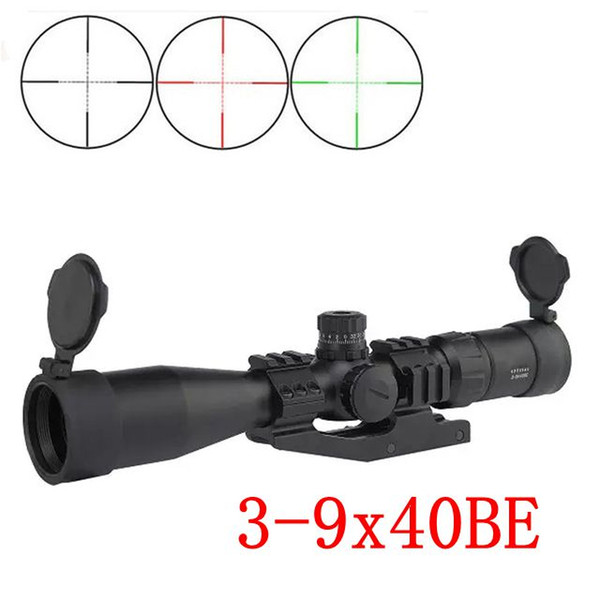 Top Tactical Optical Sight 3-9x40BE Glass Reticle Red&Green Illuminated Outdoor Hunting Riflescopes with Cover For Hunting