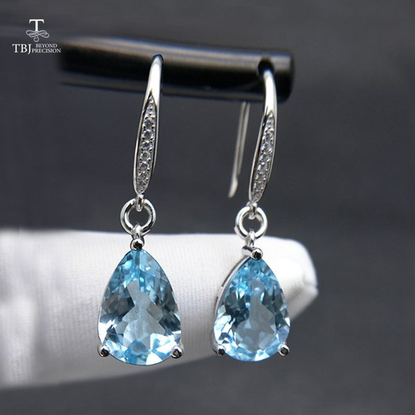 TBJ,Water Drop 8.5ct Genuine brazil blue topaz gemstone Dangle hook Earrings Pure 925 Sterling Silver Fine Jewelry For Women S18101207