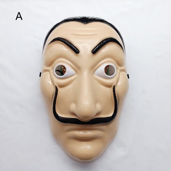 2 Stil La Casa De Papel maske 2018 Neue kinder erwachsene Horror Gesicht Halloween party Cosplay Kunststoff kopfbedeckungen Masken Spielzeug B