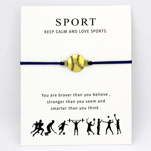 Baseball Softball Calcio Sport Bracciali Chiave Lucky Horseshoe Charms Love Lock Gioielli regolabile Donna Uomo Ragazzi regalo unisex
