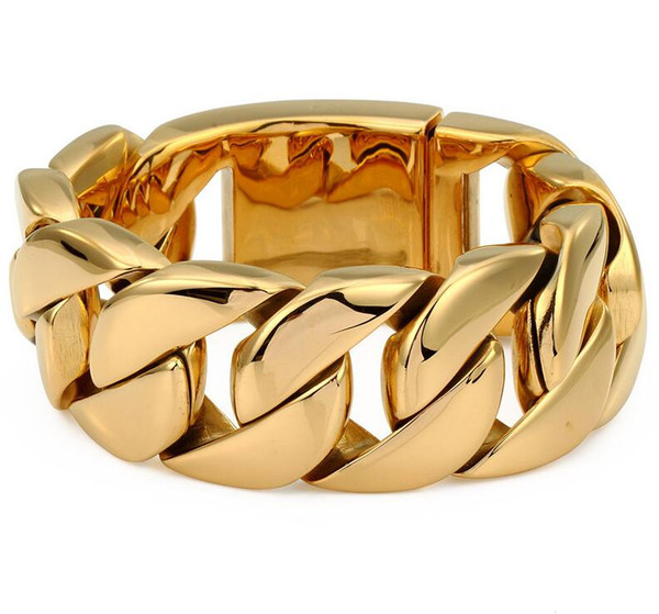31mm Width Mens Gold Plated Super Heavy Thick 316L Stainless Steel Round Curb Cuban Chain Bracelet titanium steel bangle jewelry gift