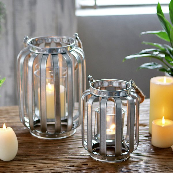Galvanized Tin Banded Candle Lantern Loft Metal Hurricane Candle Lamp with Hemp Rope Handle for Bar Tabeltop Decoration Hanging