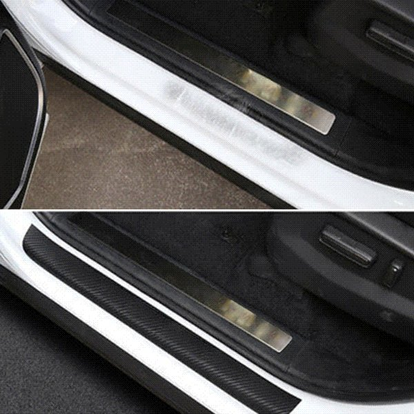 4PCS Car-Styling For Ford Fiesta 2009-2017 Car Door Scuff Sill Plates Step Plate Protector Carbon Car Sticker Car Accessories