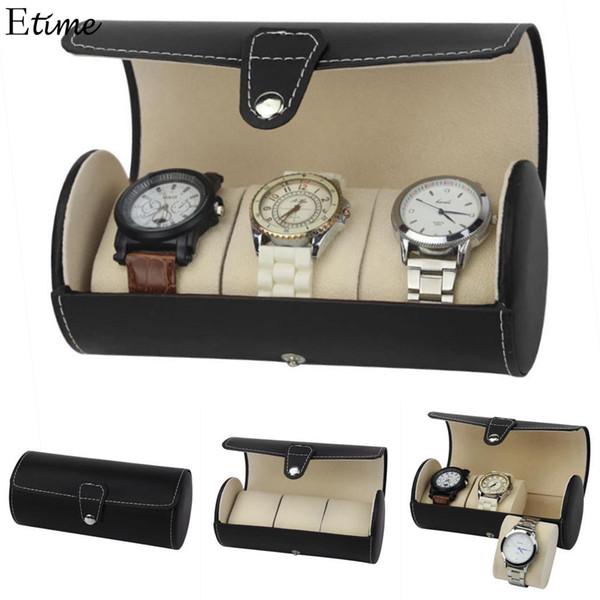FANALA Watch Box 3 Grid Watch Organizer Display Portamonete in pelle sintetica leggera portatile