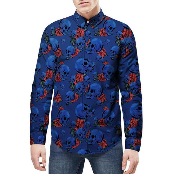 2018 Nueva marca de moda para hombres Camisa de bolsillo Lucha de cuero Camisa de vestir de manga larga Slim Fit Camisa Masculina Camisas masculinas ocasionales Modelo