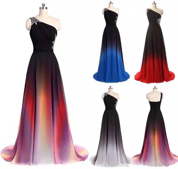 2018 nova sexy ombre longo vestidos de baile de chiffon a line plus size longo do assoalho-comprimento festa de dama de honra celebridade formal da dama de honra vestido qc1230