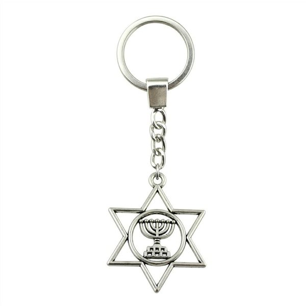 6 Pieces Key Chain Women Key Rings For Car Keychains With Charms Judaism Menorah Star Of David 39x32mm