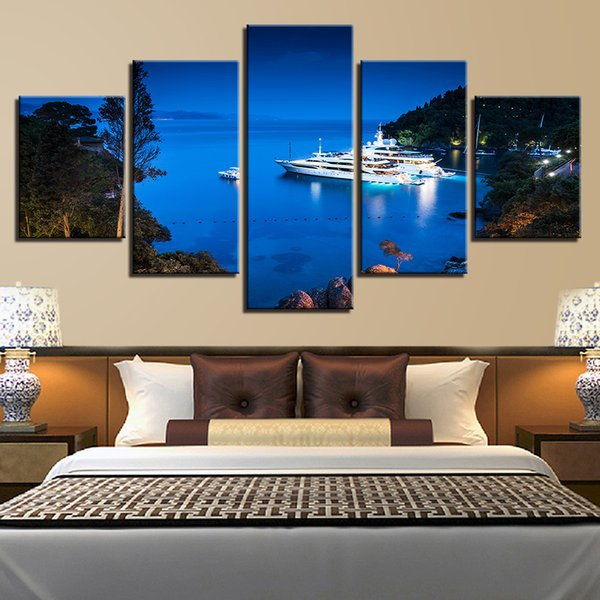 Wall Art Frame 5 Pieces Harbour Yacht Night Poster HD Prints Cruise Ship Seascape Canvas Paintings Pictures Modular Home Decor