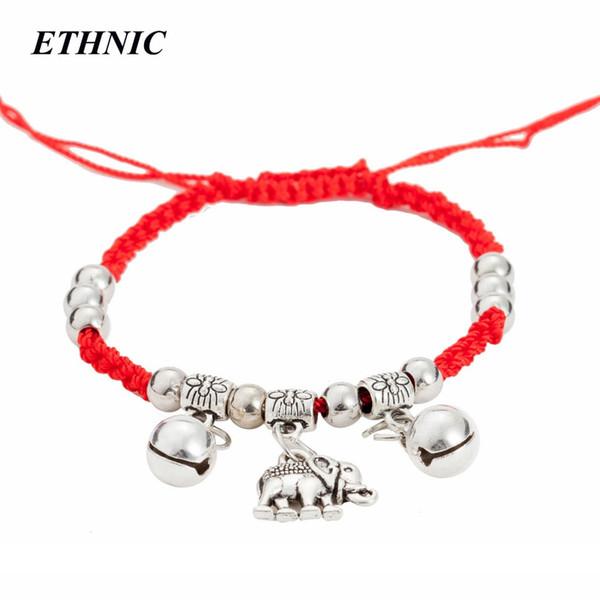 Vintage um bracelete vermelhos da linha vermelha cadeia elefante encanto Trançado Cadeia ajustável tornozeleira pulseiras para Mulheres Jóias