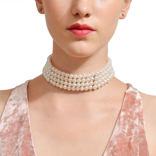 Multi-Layer Imitation Pearls Choker Necklace Fashion Short Chain Necklace For Women Statement Jewelry Free Shipping