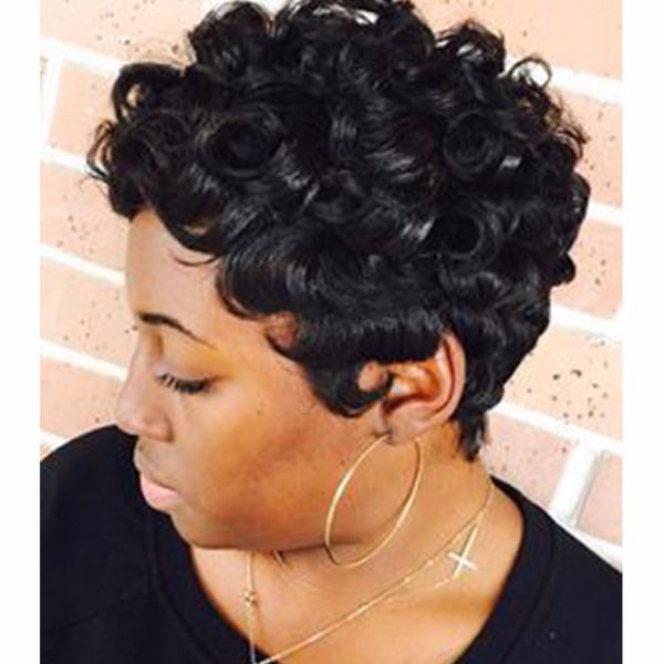 100% Echthaar Leichte Wellenperücken Glueless Kurze Wellenperücken für Frauen African Amerimen Afrin American W für Frauen African American Perücken