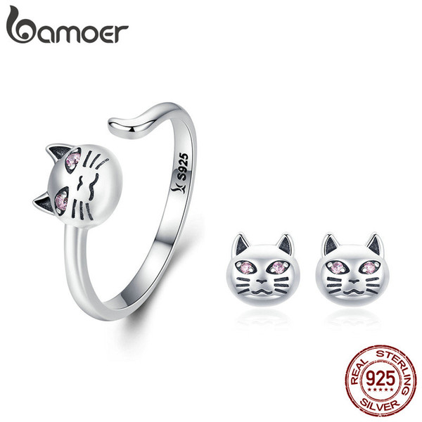Authentische 925 Sterling Silber Sticky Cat Einstellbare Ringe Ohrringe für Frauen Schmuck Set Silber Geschenk