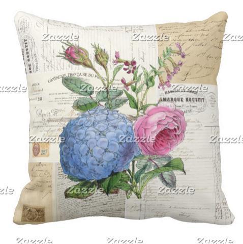 Старинные цветочные французский подушка может быть настроена на карту атласная подушка украшения дома