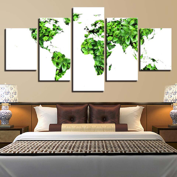 Canvas Prints Pictures 5 Pieces Map Of The Small Fresh World Painting Home Decor Green Leaves Poster Living Room Wall Art Framed
