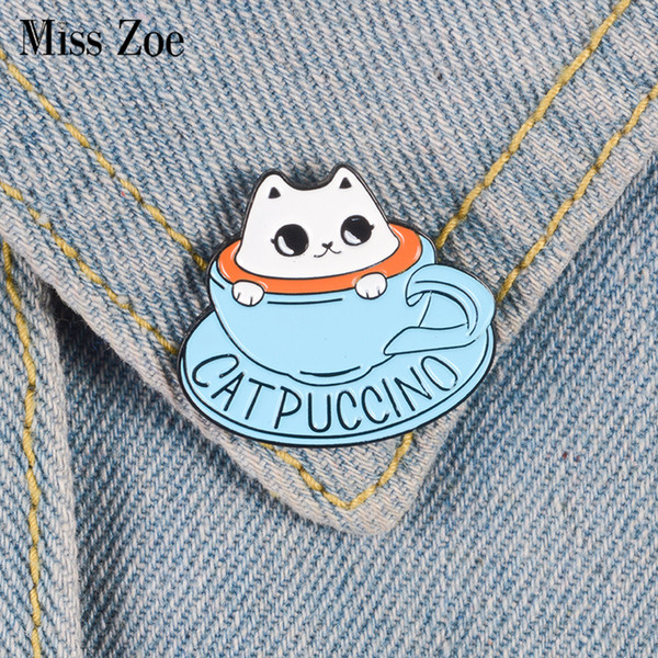 Miss Zoe Cat coffee Enamel pin Coffee cup brooch Bag Clothes Lapel Pin Button Badge Cartoon cute animal Jewelry Gift for friends kids