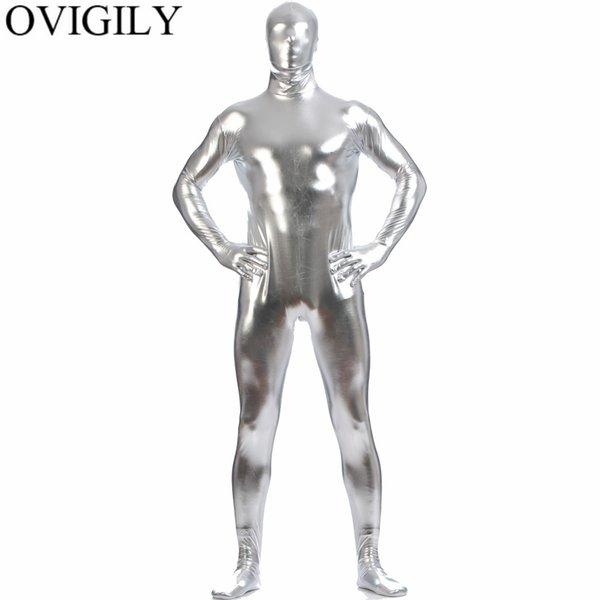 OVIGILY Men's Shiny Metallic Zentai Full Body Suit Adults Silver Spandex Skin Tights One Piece Bodysuits Zentai Costume For Boys