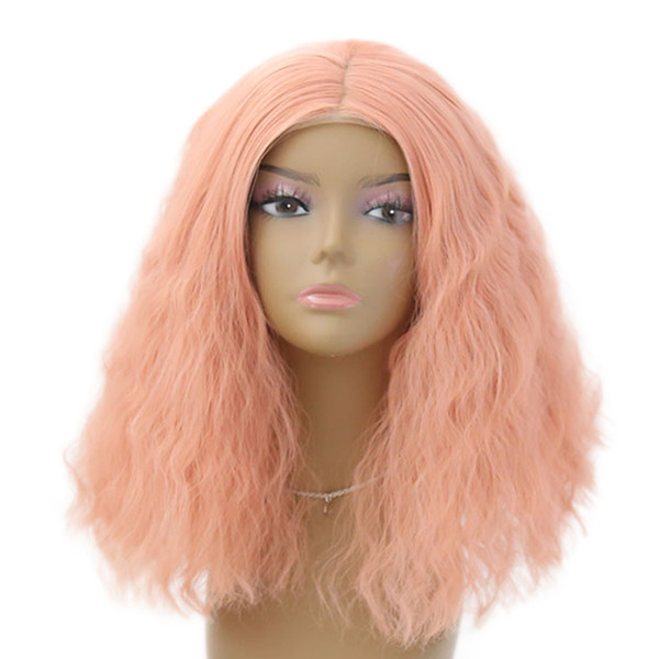 "Sweety Pink 12"" Short Curly Women Lolita Anime Cosplay Wigs Full Lace Front Wig"