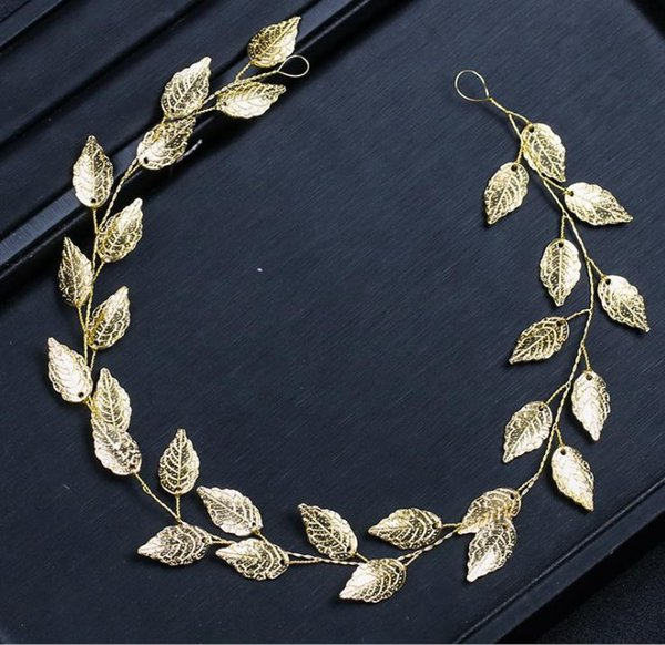 Europe and the United States gold and silver leaves hair accessories 2018 new wedding dress accessories bridal tiara headband hair band