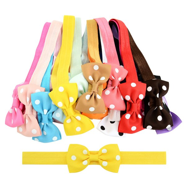 20 color Handmade kids bowknot hair accessories Headwear Girls Headbands Bow Hair Accessories trendy boutique Baby Grosgrain bow wholesale