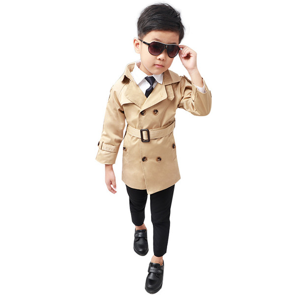 top popular New Children trench coat for kids Boy winter jacket trench Coat Long Sleeve spring Windbreaker Boys outfits Outerwear 2-12Y 2019