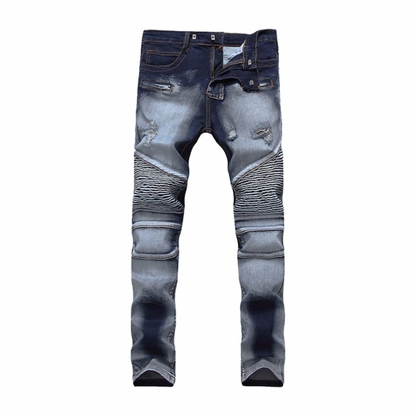 Mens Blue Biker Ripped Jeans Slim Fit Skinny Destroyed Denim Pants Casual Straight Tapered Leg Trousers for Men