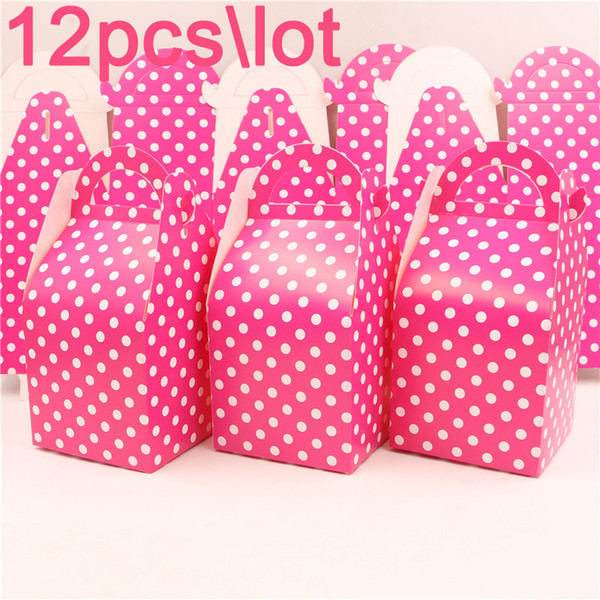 Rose Polka Dots Theme Baby Shower Paper Gifts Boxes Birthday Candy Box Party Kids Favors Decoration Events Supplies 12pcs\lot