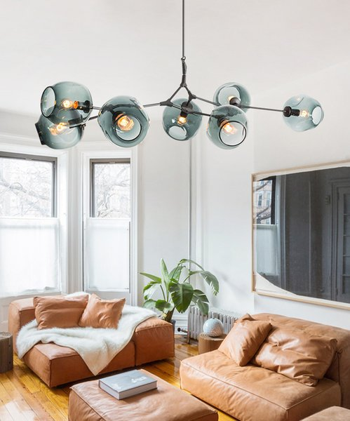 Nordic Art LED Glass Pendant Light Lindsey Adelman Chandelier Kitchen Magic Beans Tree Branch Suspension Hanging Light Fixtures