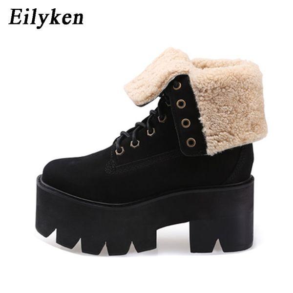 Eilyken Fashion Warm Fur Winter Shoes Women Snow Boots 2017 New Slip-Resistant Platform Female Cotton-Padded Shoes Black Plush