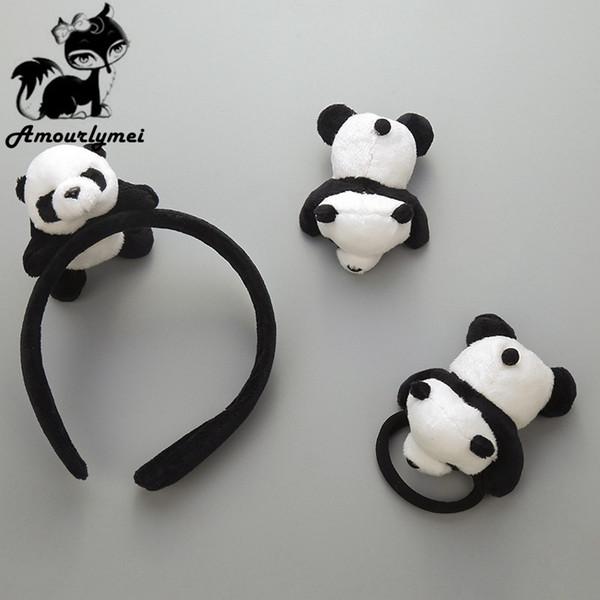 arty headdress Hot Sale 3 Pcs Lovely Girls Plush Panda Hairband+Hairpins+Elastic Hair Bands Headband Party Headdress Headwear Hair Access...