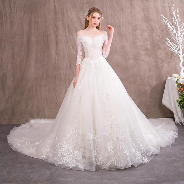 2019 New designer Turkey Princess ball gown wedding dresses long sleeves plus size modest off shoulder Church corset bridal wedding gown