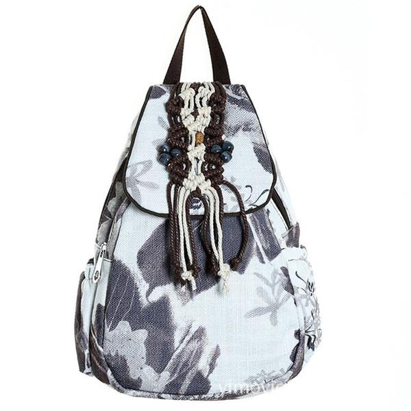 Классические чернила живопись небольшой рюкзак женские дамы рюкзаки для путешествий бусины плетеные ручной работы школьный рюкзак для девочек