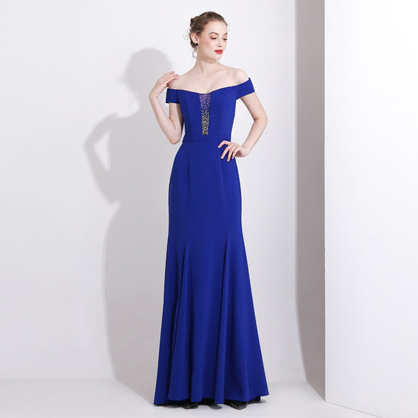 Bateau Neck Mermaid Evening Dresses Royal Blue 2019 Beaded Prom Gowns Floor Length Formal Dresses Zipper Back