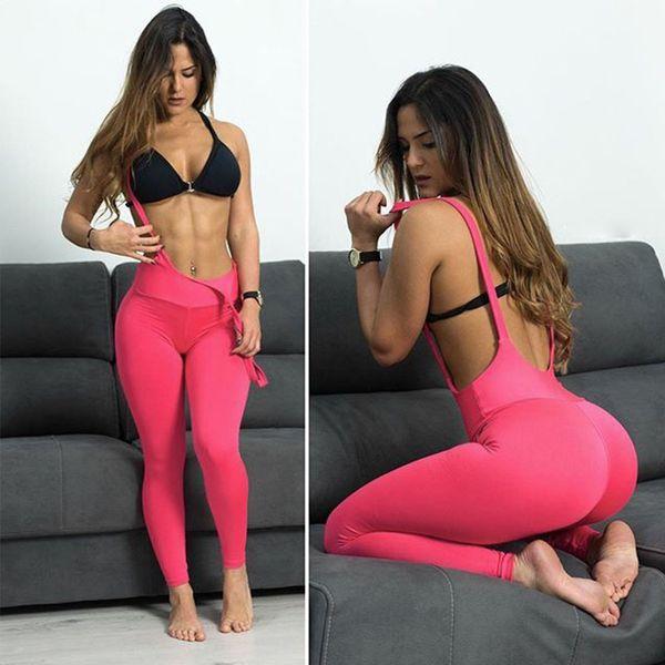 Women Summer Suspender Leggings Sexy Push Up Pants Dry Quick High Elastic Legging Skinny Workout Fitness Woman Slim Leggins S18101506