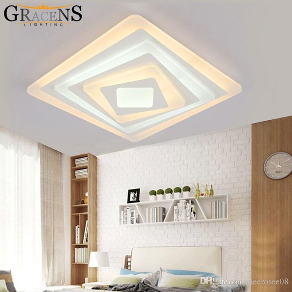 Square Acrylic LED Ceiling Light Fixture Living room Bedroom Decorative Ceiling Lamp Kitchen Lighting Super-thin Luminarie
